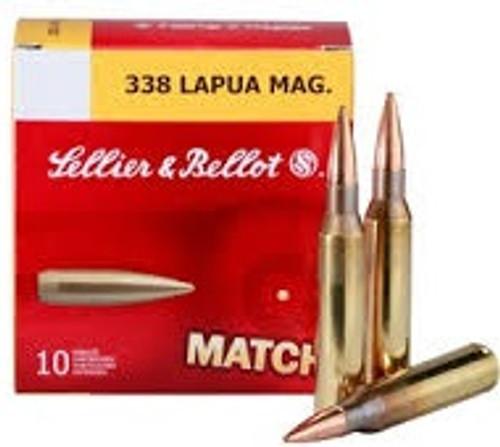 Sellier & Bellot 338 Lapua Mag Ammunition SB338LMB 300 Grain Match Sierra MatchKing Hollow Point Case of 100 Rounds