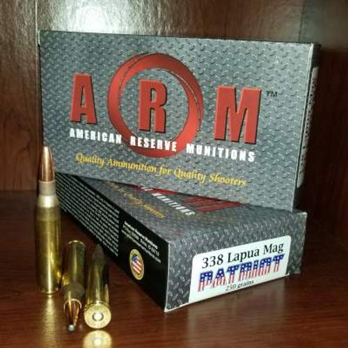 ARM 338 Lapua Mag Ammunition Patriot ARM338LM250PAT 250 Grain Grand Slam Soft Point Case of 120 Rounds