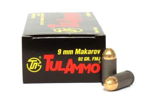 Tula 9x18 Makarov Ammunition TA918092 92 Grain Full Metal Jacket Case of 1000 Rounds