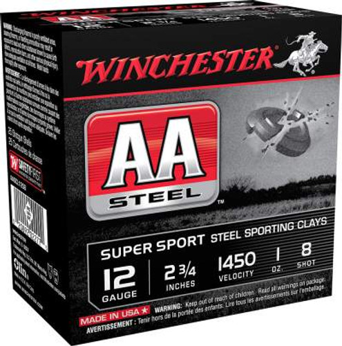 Winchester 12 Gauge Ammunition AA Steel AASCL12S8 2-3/4 #8 1oz 1450fps Case of 250 Rounds