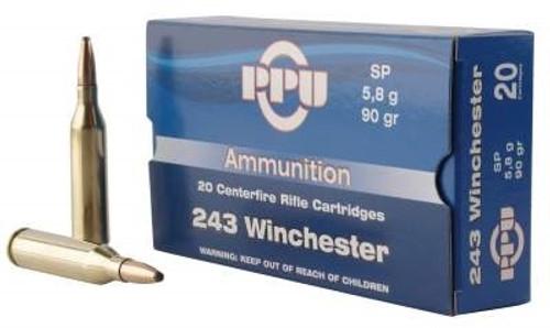 Prvi PPU 243 Winchester Ammunition PP2431 90 Grain Soft point Case of 200 Rounds