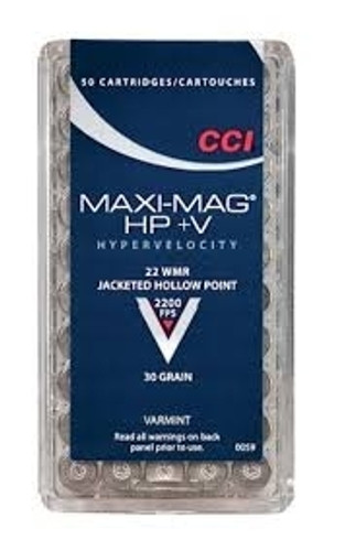 CCI 22 WMR Ammunition Maxi-Mag 0059 30 Gain HP+V Jacketed Hollow Point Case of 2000 Rounds