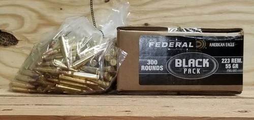 Federal 223 Rem Ammunition American Eagle Black Pack AE223BF300 55 Grain Full Metal Jacket Bulk Pack of 300 Rounds