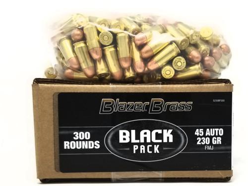 CCI Blazer Brass 45 Auto Ammunition Black Pack 5230BF300 230 Grain Full Metal Jacket 300 Rounds