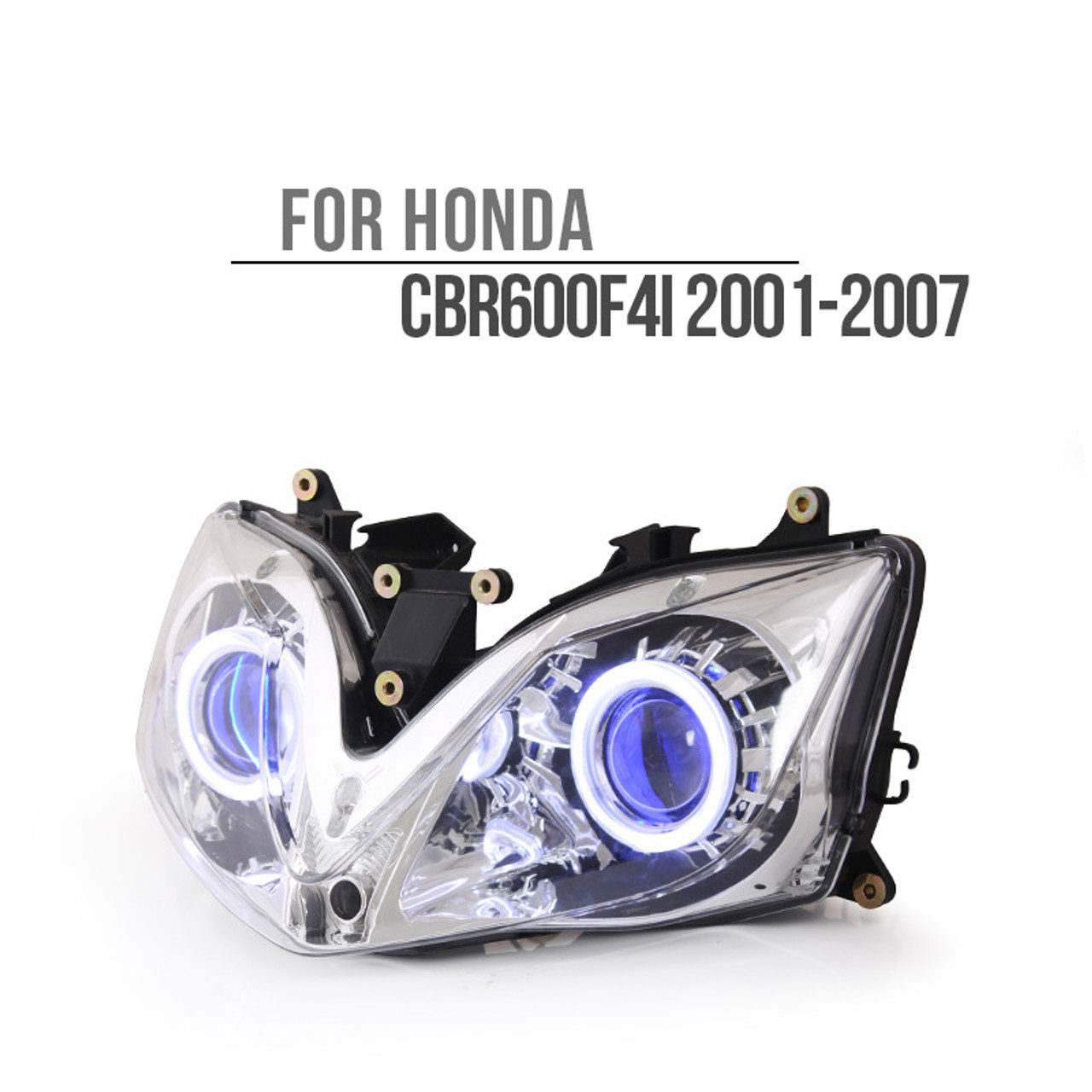 fit for honda cbr600f4i 2001 2007 led angel eye headlight assembly rh ktmoto com EZ Go Headlight Wiring Diagram Auto Headlight Wiring Diagram