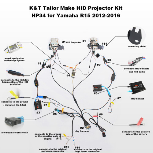 yamaha r15 hid projector kit 2012 2013 2014 2015 2016 on Motorcycle Wiring Diagram Yamaha Solenoid Diagram for fit for yamaha r15 2012 2016 tailor made hid projector kit hp34