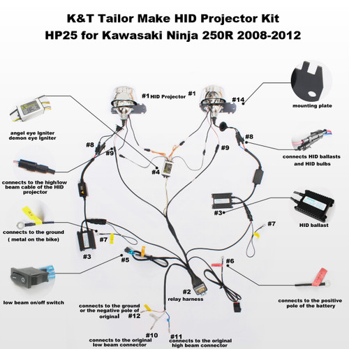 fit for kawasaki z1000 2003 2006 tailor made hid projector kit hp25 rh ktmoto com Basic Electrical Wiring Diagrams Simple Wiring Diagrams