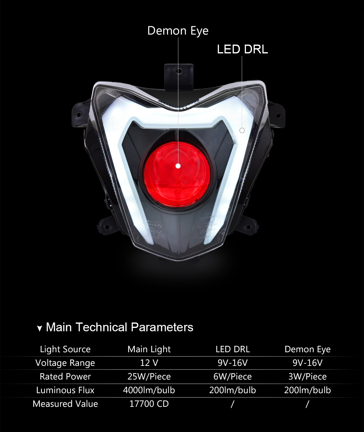 Benelli BN600i BJ600GS 2012-2017 headlight