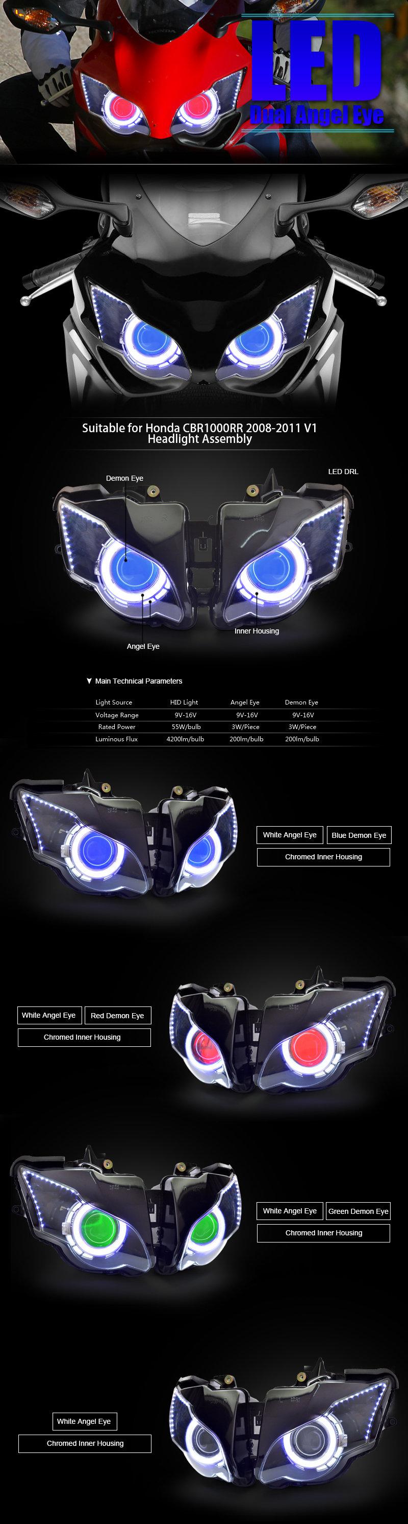 Honda CBR1000RR LED Headlight 2008 2009 2010 2011