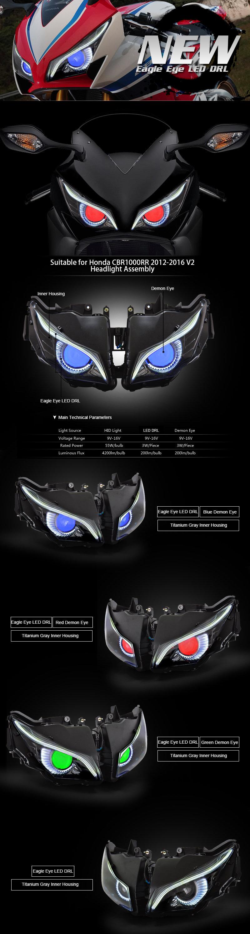 Honda CBR1000RR Headlight 2012 2013 2014 2015 2016
