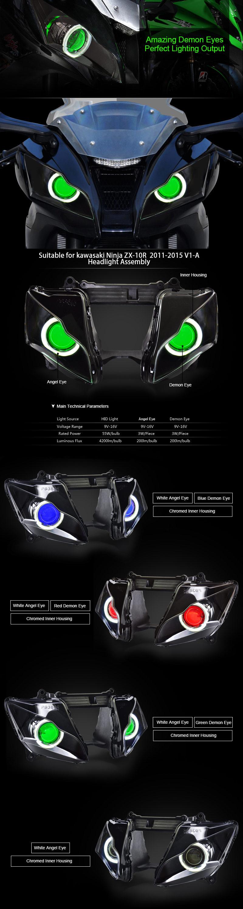 Kawasaki ZX10R Headlight 2011 2012 2013 2014 2015