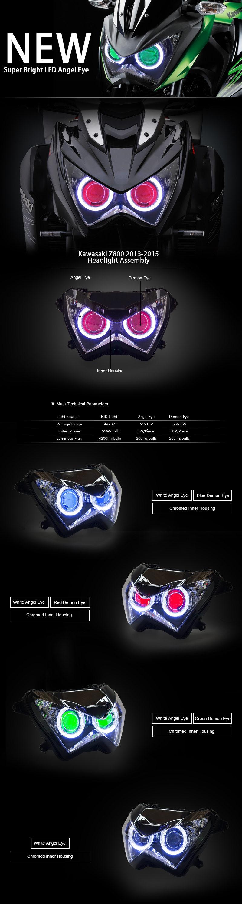 Kawasaki Z800 Headlight 2013 2014 2015 2016