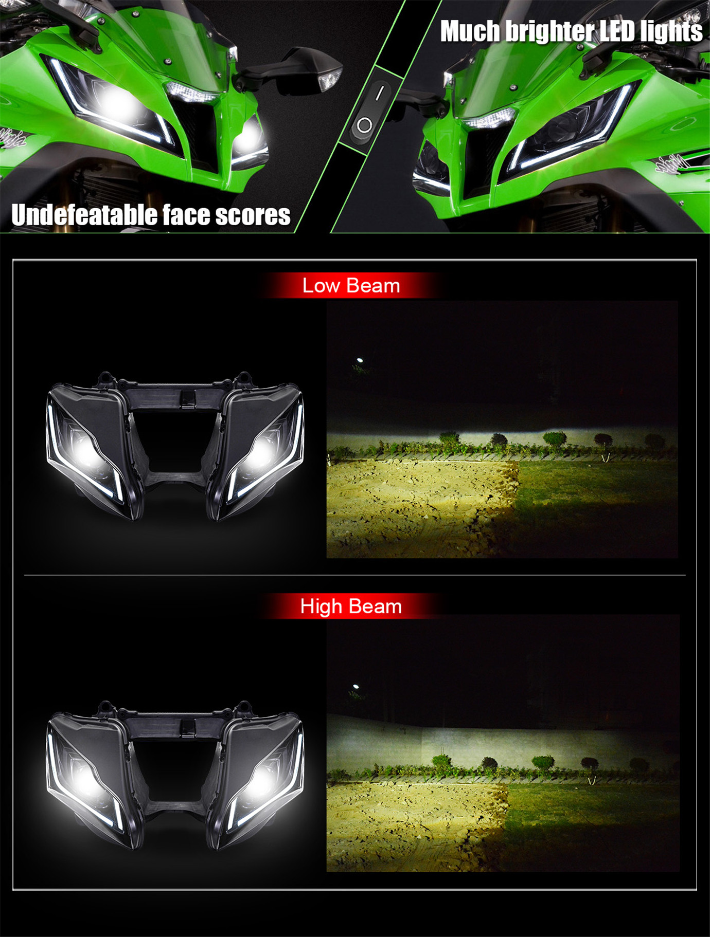 Kawasaki Ninja ZX10R Full LED Headlight 2011 2012 2013 2014 2015