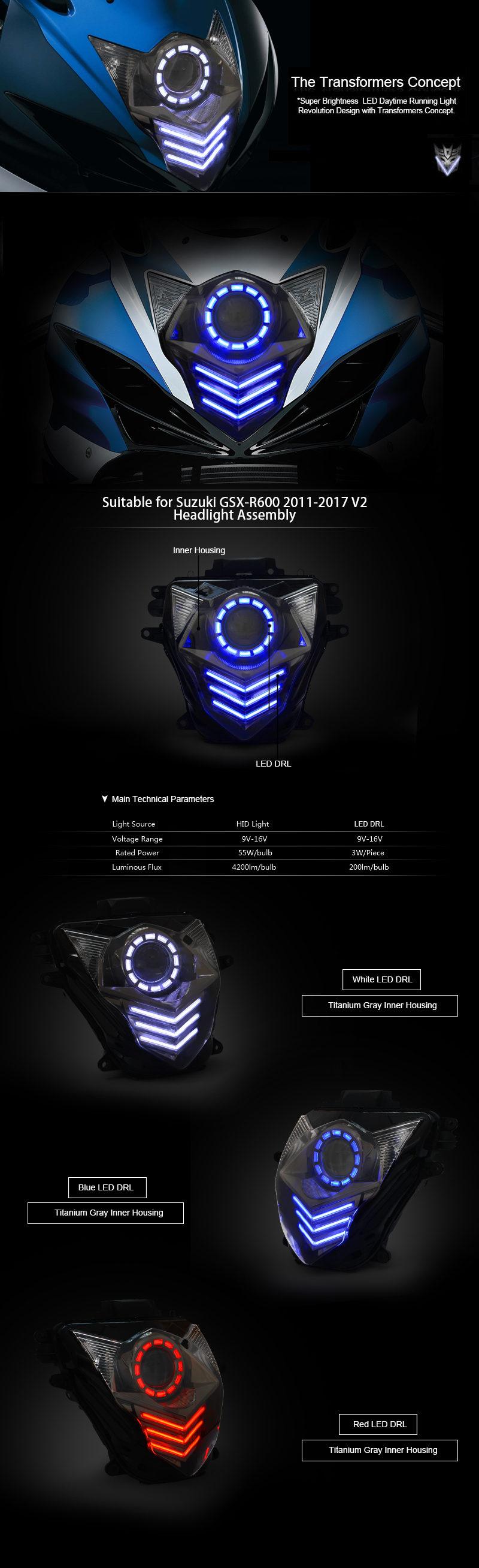 GSXR600 Headlight 2011 2012 2013 2014 2015 2016 2017