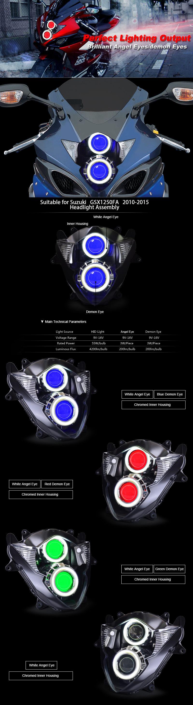 Suzuki GSX1250F Headlight 2010 2011 2012 2013 2014 2015