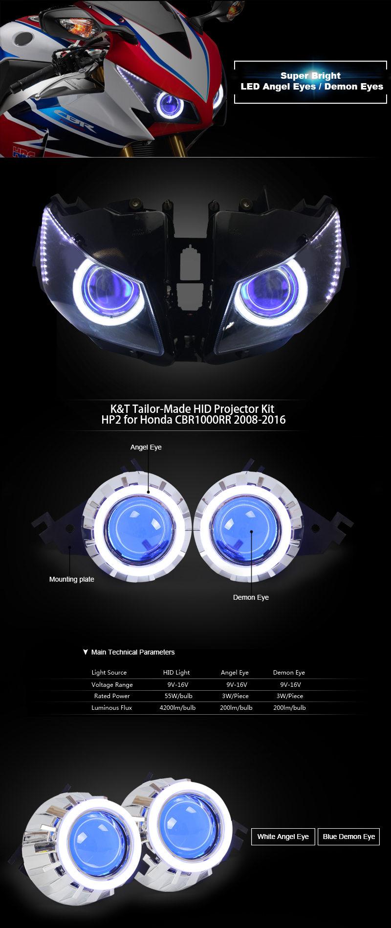 Honda CBR1000RR HID Projector 2008 2009 2010 2011 2012