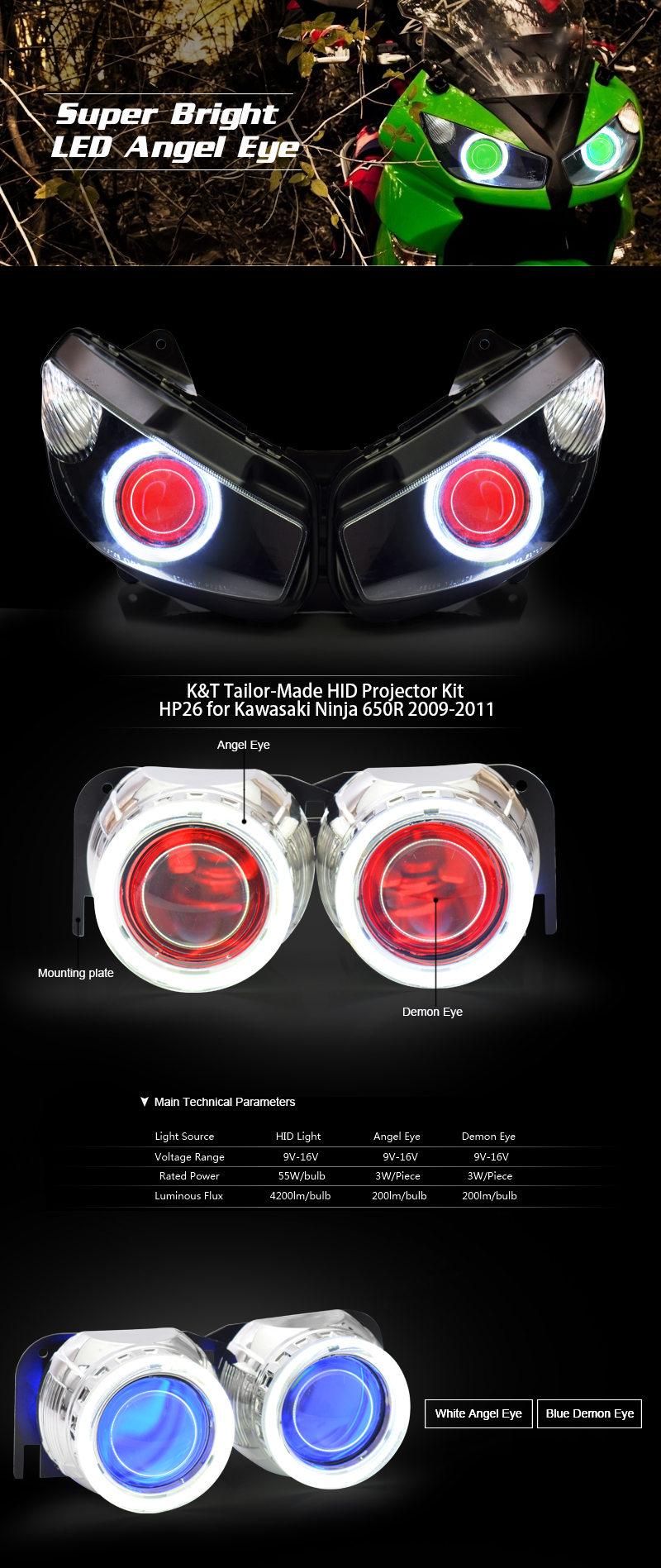 Kawasaki Ninja 650r Hid Projector Kit 2009 2010 2011 Wiring Harness