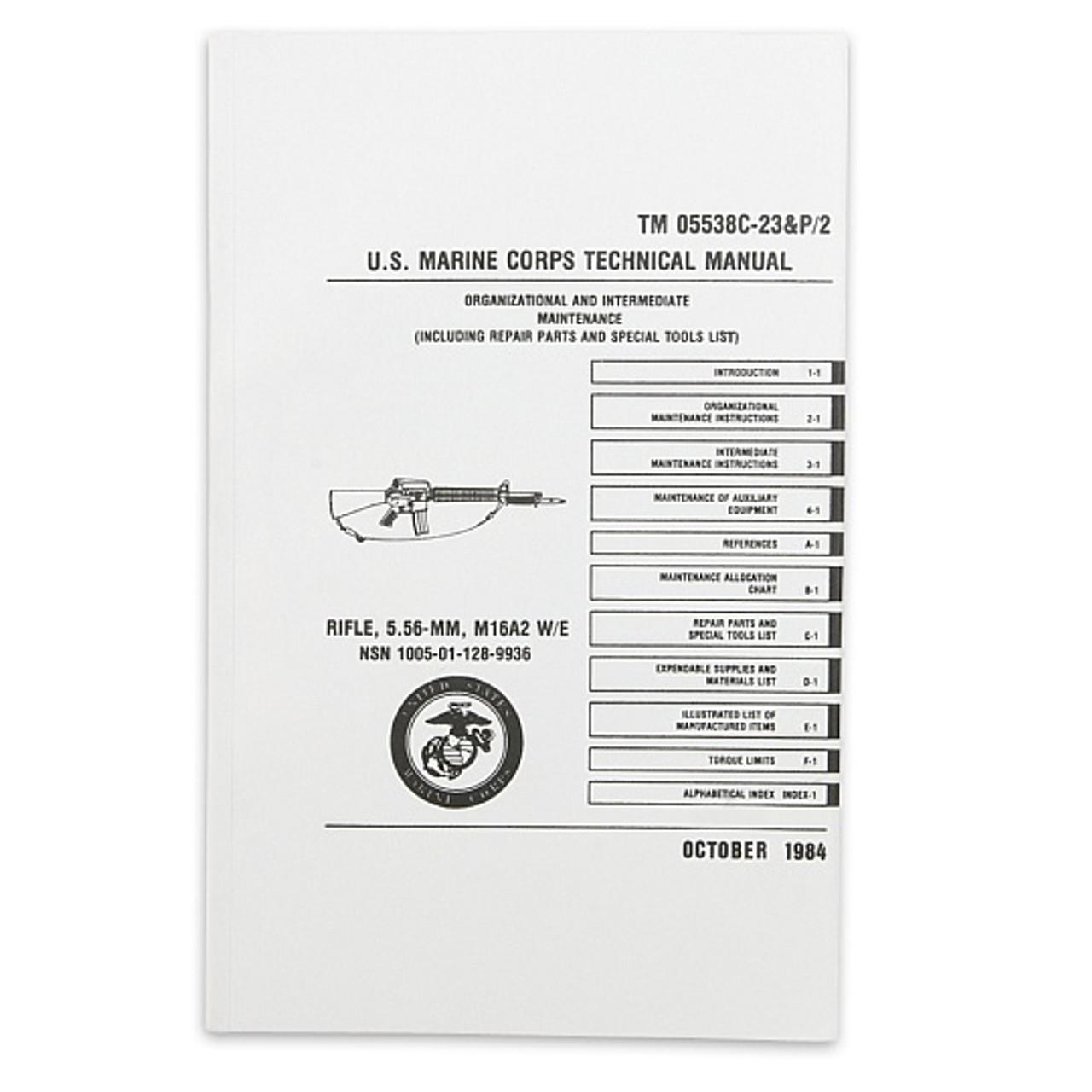 us marine corps technical manual rifle 5 56 mm m16a2 tm 05538c rh allpredatorcalls com Military M 16 A2 m16a2 technical manual pdf