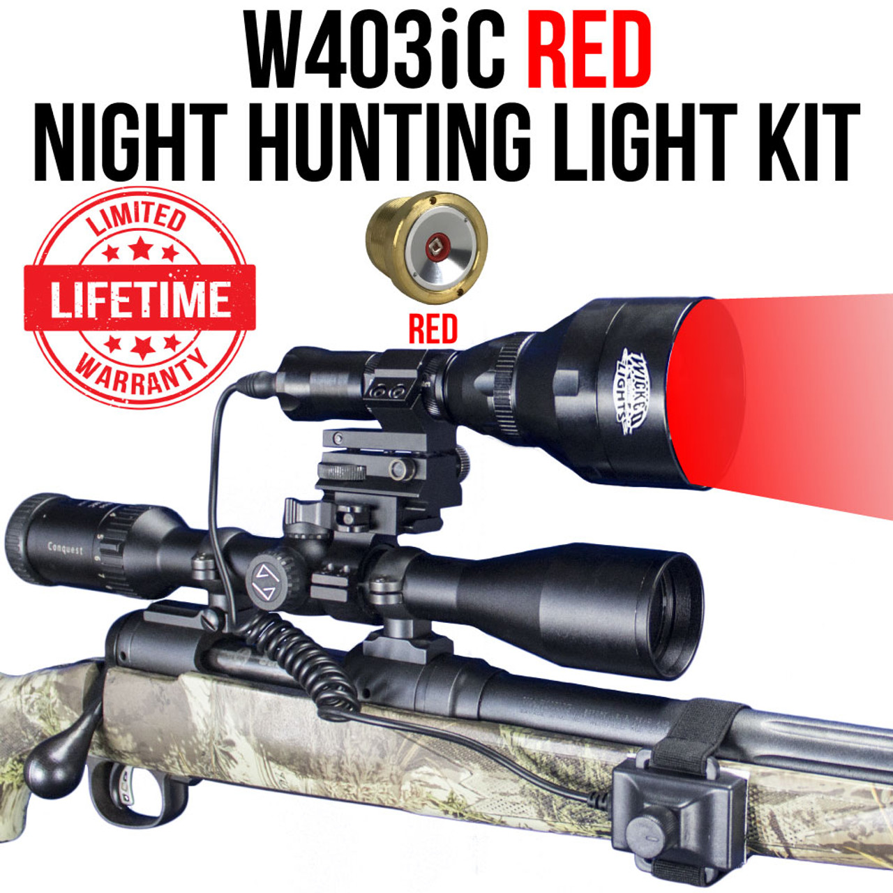 Wicked Lights W403ic Red Night Hunting Light Kit
