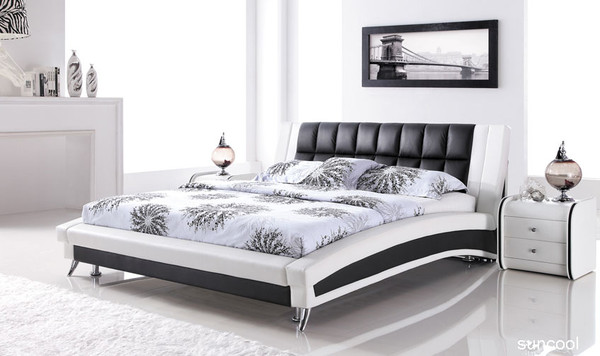 White Black Leather Queen Size Bed In Sydney Melbourne
