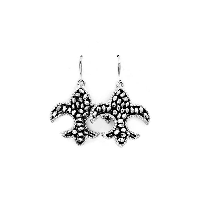 Bejeweled Silver Fleur-De-Lis Drop Earrings