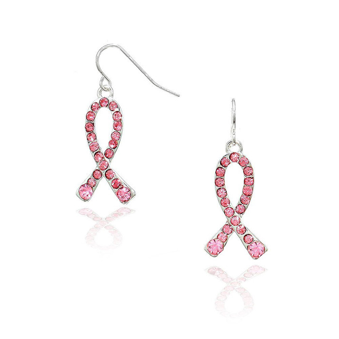 Pink Crystal Breast Cancer Ribbon  Drop Earrings