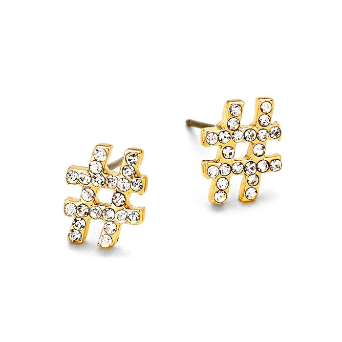 Bejeweled Golden Hashtag Post Earrings