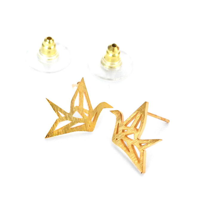 Golden Origami Crane Outline Post Earrings