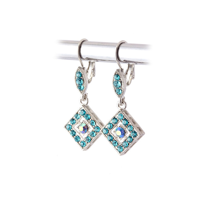 Aqua Blue Austrian Crystal Leverback Earrings