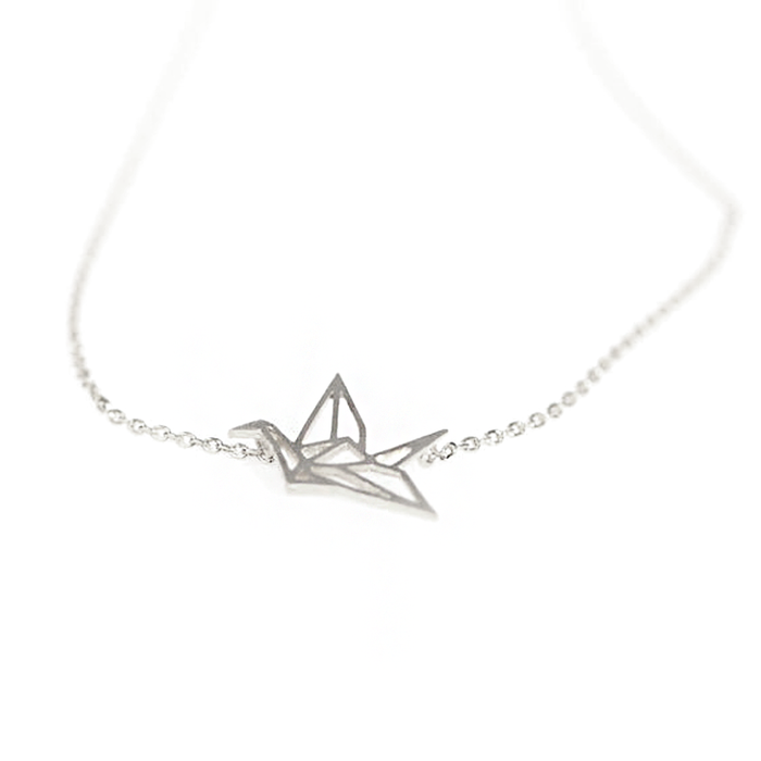 Silver Origami Crane Outline Necklace