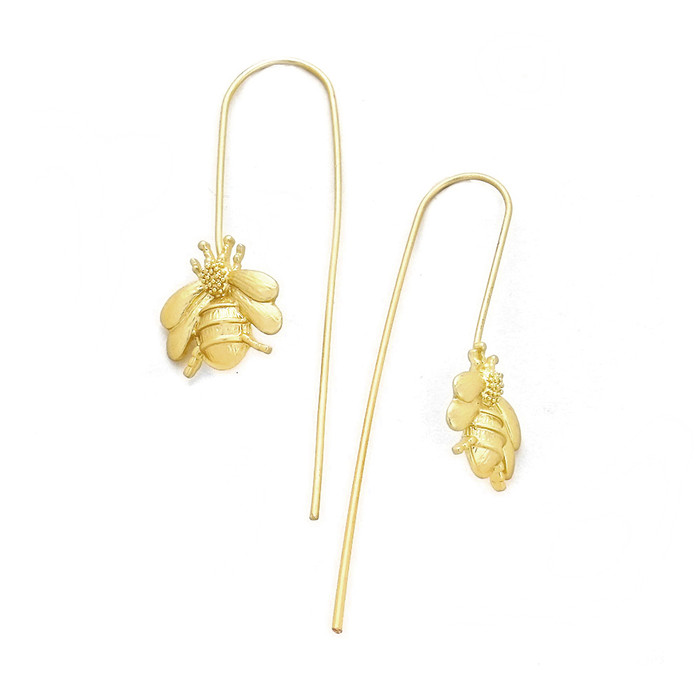 Golden Bee Long Hook Drop Earrings
