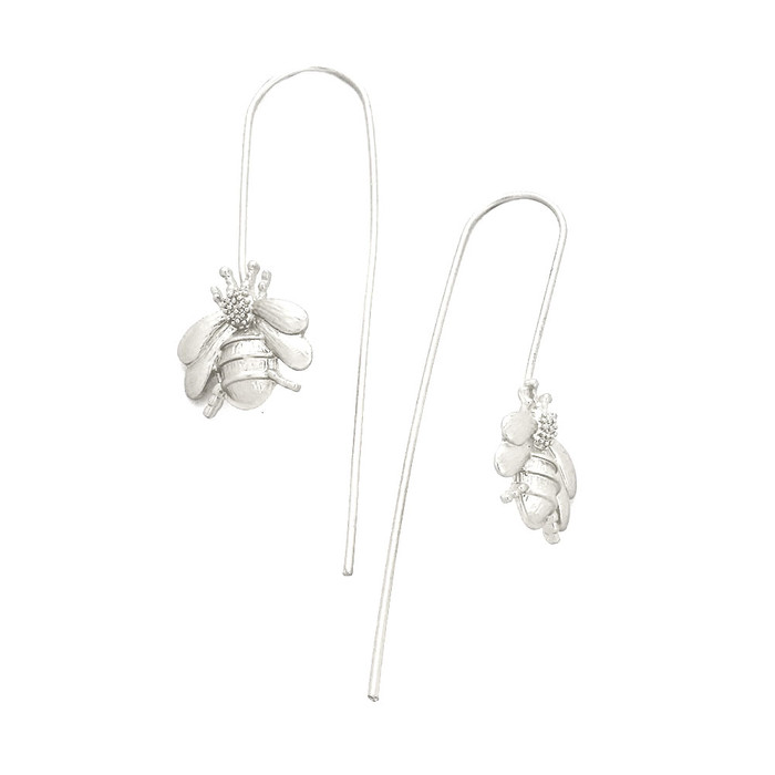 Matte Silver Bee Thread-Thru Drop Earrings