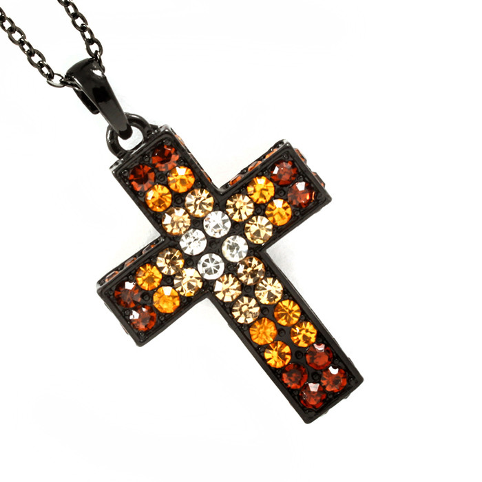 Golden-Brown Crystal Cross Necklace