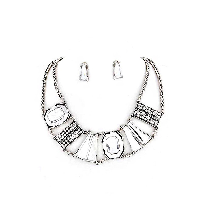 Deluxe Silver Bib Necklace and Earring Set