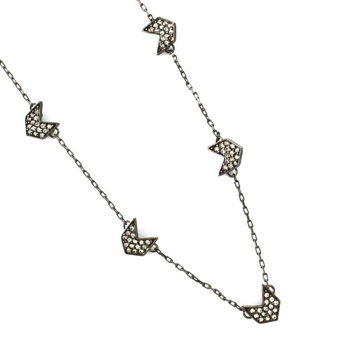 Gunmetal Mini Chevron Necklace