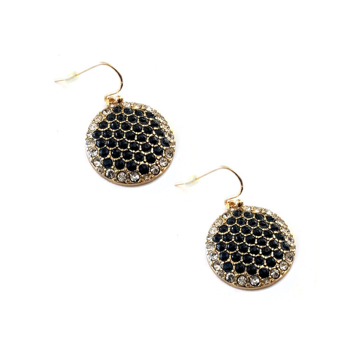 Black and Clear Crystal Golden Honeycomb Drop Earrings