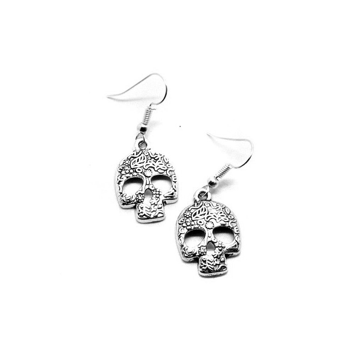 Silver Sugar Skull Drop Earrings with Floral Pattern