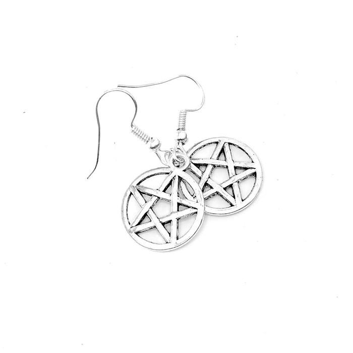 Silver Pentacle Drop Earrings