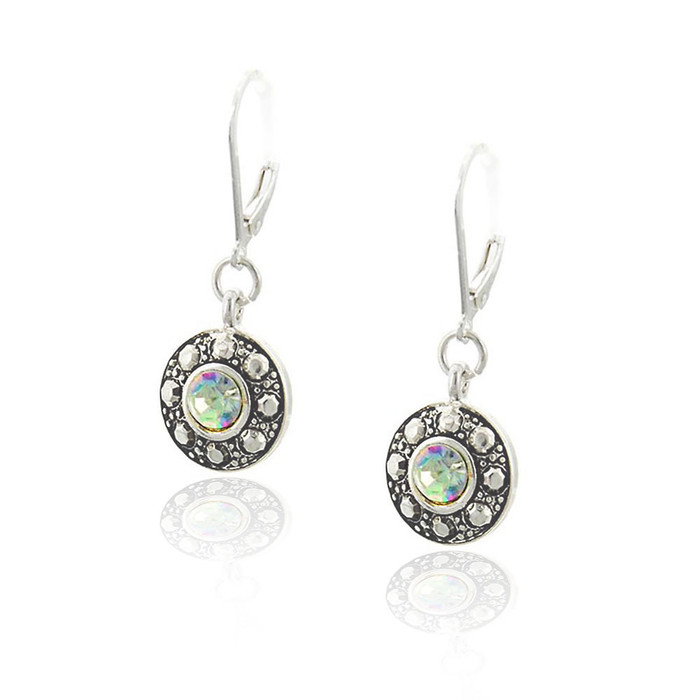 Round Antiqued Silver and Aurora Borealis Leverback Earrings