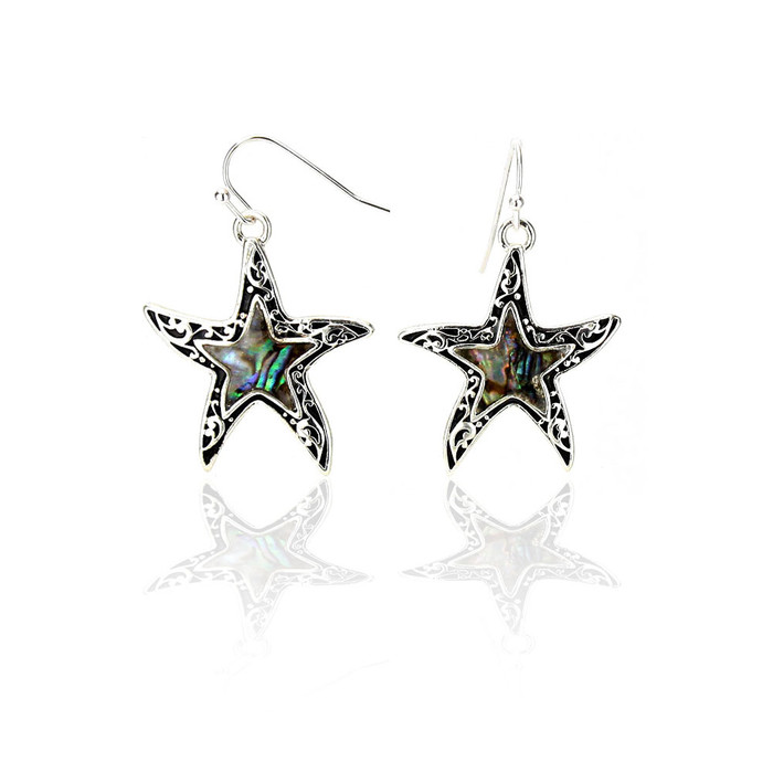 Silver Filigree Abalone Starfish Drop Earrings