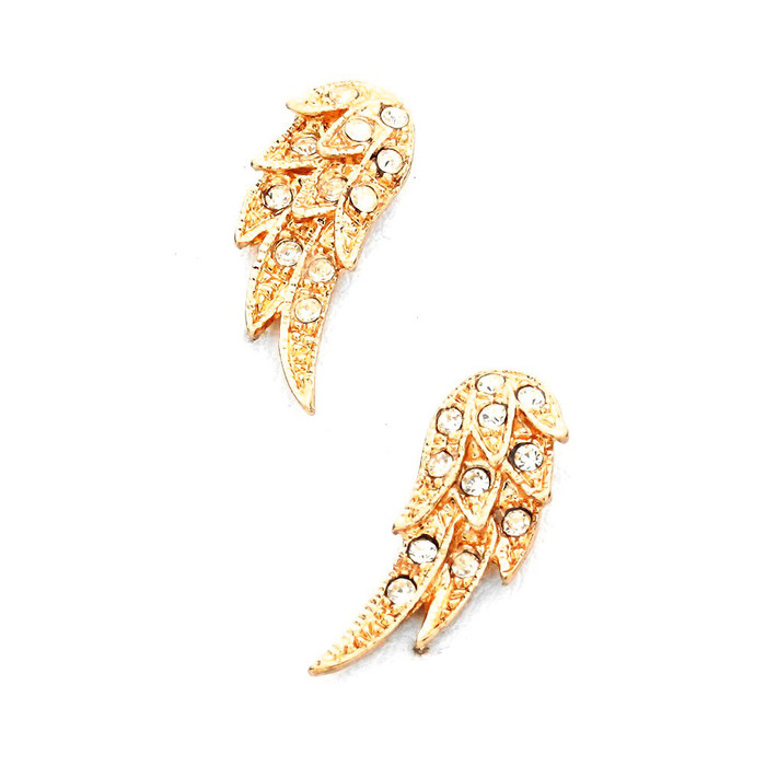 Golden Angel Wing Post Earrings with Crystals