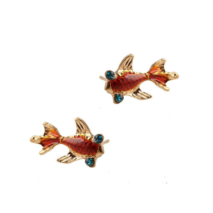 Golden Enameled Koi/Goldfish Post Earrings with Crystal Detail