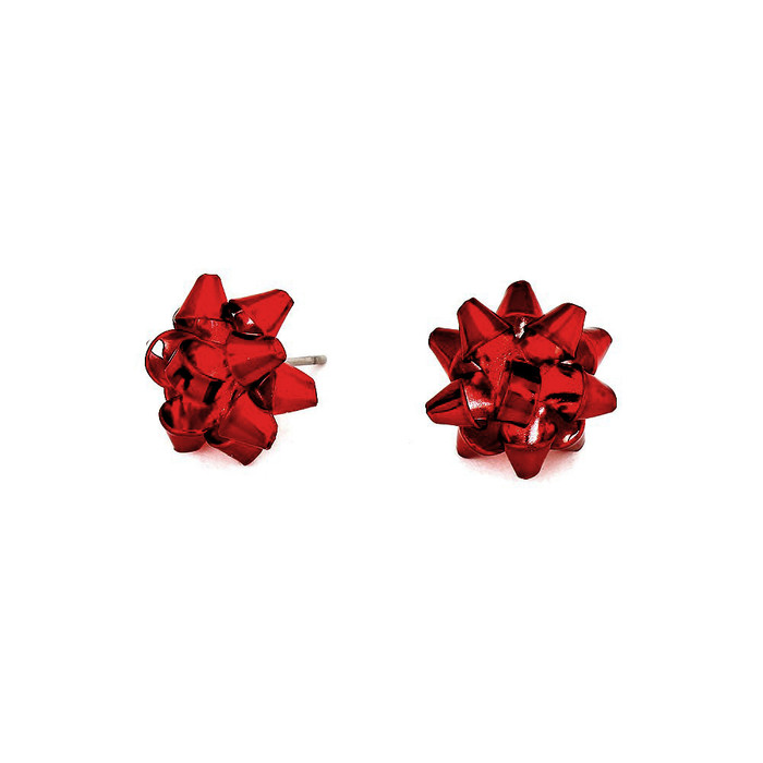 Red Gift Bows: Metal Post Earrings