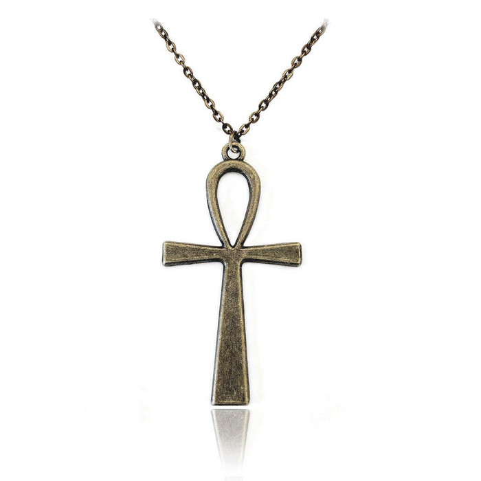 Antiqued Gold Egyptian Ankh Pendant Necklace