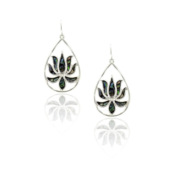 Silver Lotus Teardrop Earrings with Abalone Inlay