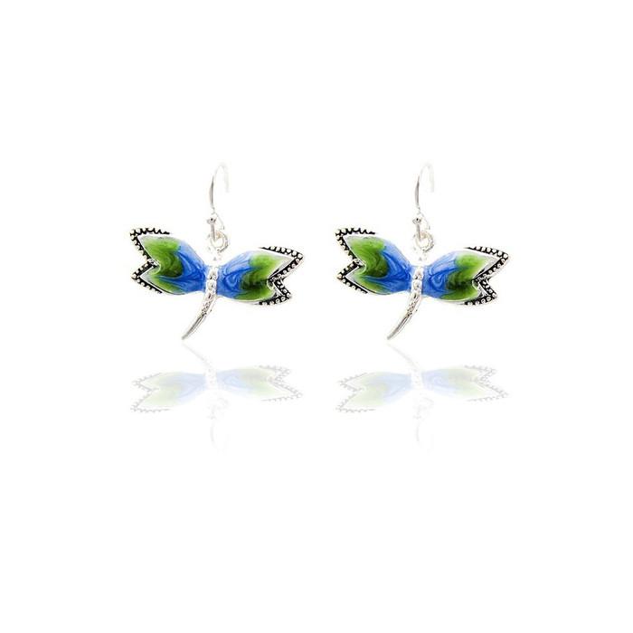 Blue-Green Enameled Dragonfly Drop Earrings