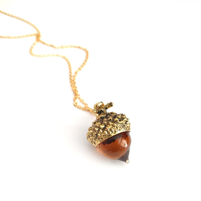 Golden Amber Glass Acorn Pendant Necklace