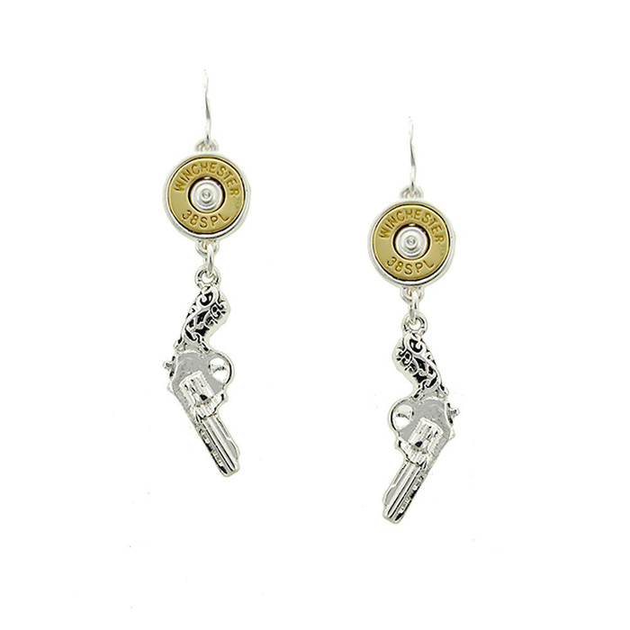 Antiqued Silver Revolver and Golden Bullet Drop Earrings