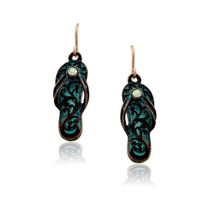 Patina Filigree Flip-Flop Drop Earrings