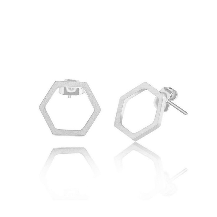 Silver Single Honeycomb Post Earrings